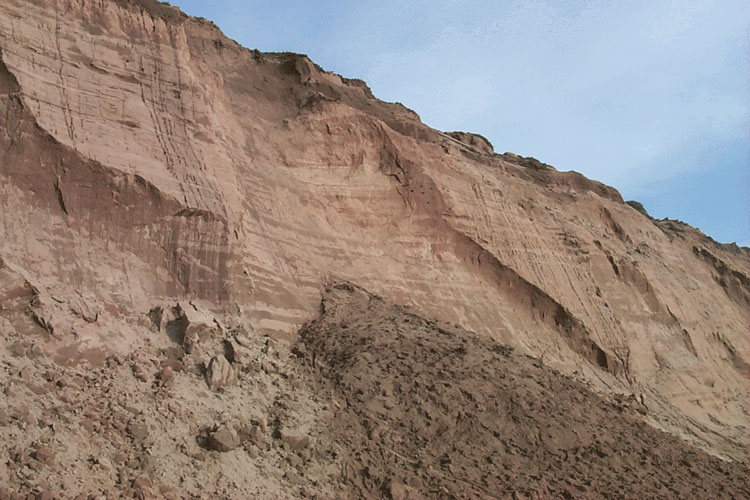 full screen photo of eroding sand cliffs with a dozen holes halfway up bank